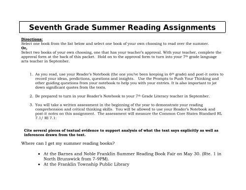 7th Grade - Franklin Board of Education