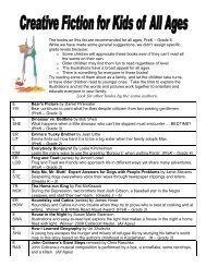 Suggested Summer Reading K-6 Fiction - Franklin Board of Education