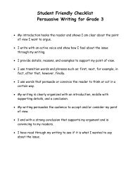 Student Friendly Checklist- Persuasive Writing 3-5