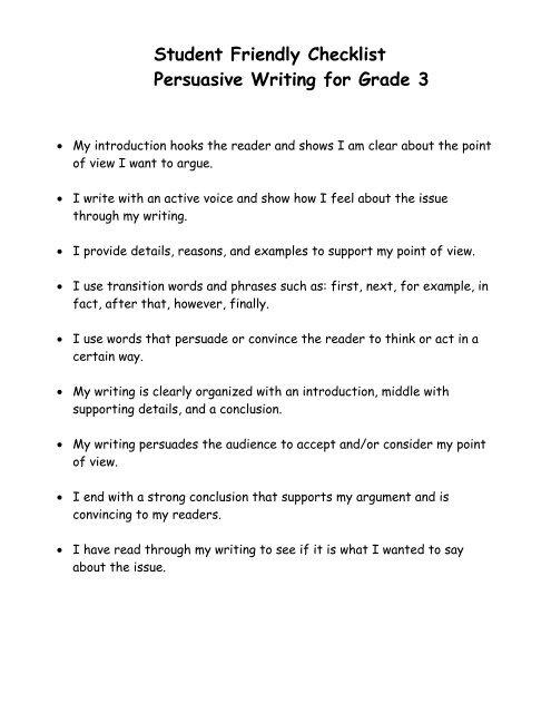 Persuasive essay checklist