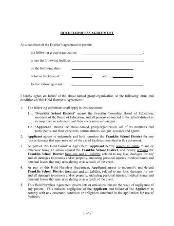 Aerial Spray Hold Harmless Agreement