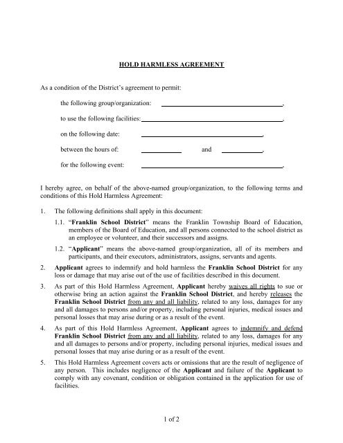 Hold Harmless Agreement - Franklin Board of Education