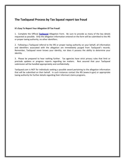 The Taxsqueal Process By Tax Squeal Report Tax Fraud
