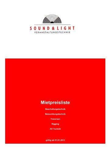 Preisliste Veranstaltungstechnik - Sound & Light