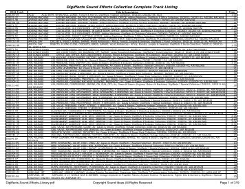 View Track List PDF - Sound Ideas