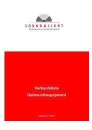 Preisliste Gebrauchtgeräte - Sound & Light