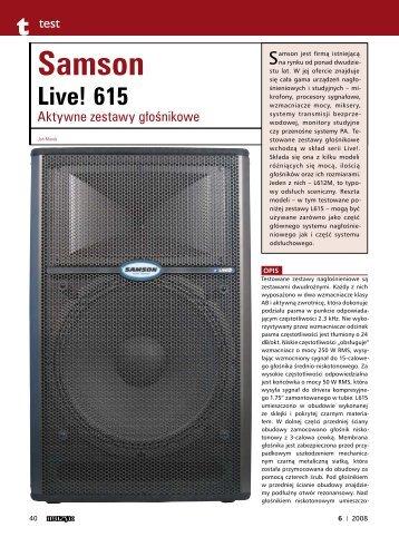 Test modelu Live 615 (PDF, 330KB) - SOUND.PL