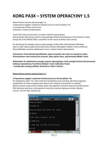 KORG PA3X – SYSTEM OPERACYJNY 1.5 - Sound.pl