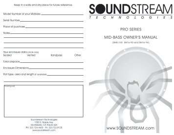 Pro Series Manual Front - Soundstream