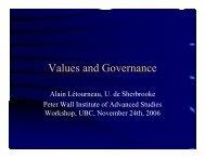Letourneau A, Values and Governance - Introduction