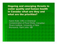 Kidd K, Ongoing and emerging threats to water quality and human ...