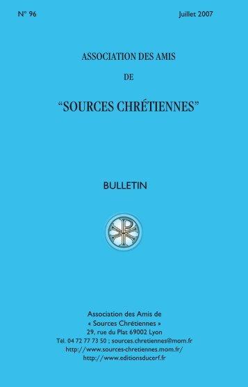 Bulletin n° 96 juillet 2007 - Sources Chrétiennes - Maison de l'Orient ...