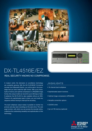 Mitsubishi DX-TL4516E Digital video recorders - SourceSecurity.com