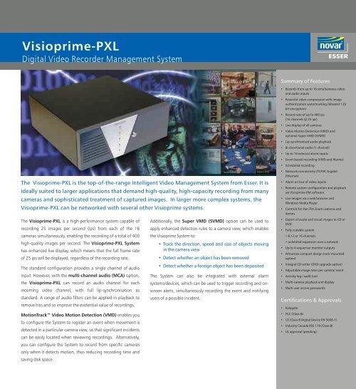 Esser PXL-16 Digital video recorders (DVRs) - SourceSecurity com