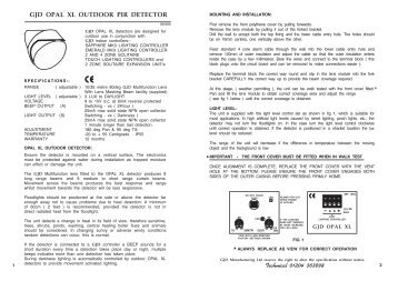 Gjd gjd310 video motion detectors product datasheet gjd opal xl video motion detectors product datasheet cheapraybanclubmaster Gallery