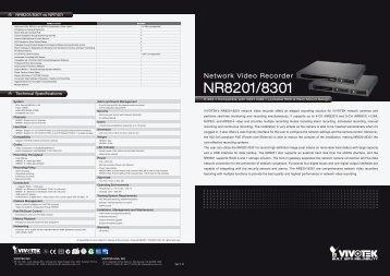 Vivotek NR8201 Network Video Recorders - IPCam