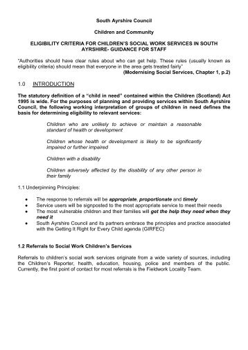 Eligibility Criteria – Guidance for Staff - South Ayrshire Council