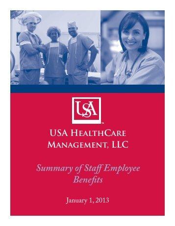 Summary of Staff Employee Benefits - University of South Alabama