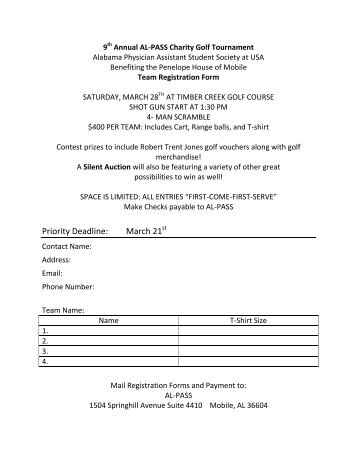 9th Annual AL-PASS Charity Golf Tournament - University of South ...