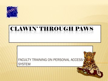 PAWS Faculty Training Course - University of South Alabama
