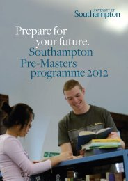 Prepare for your future. Southampton Pre-Masters programme 2012