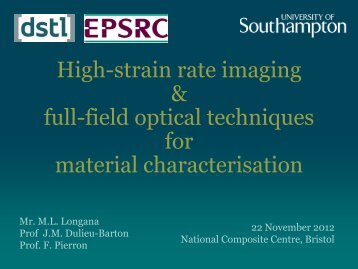 High-strain rate imaging and full-field optical techniques for material ...