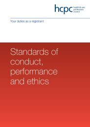 Standards of conduct, performance and ethics - Health and Care ...