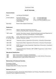 Curriculum Vitae Jan M. Podivinsky - University of Southampton