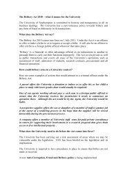 The Bribery Act 2010 - University of Southampton