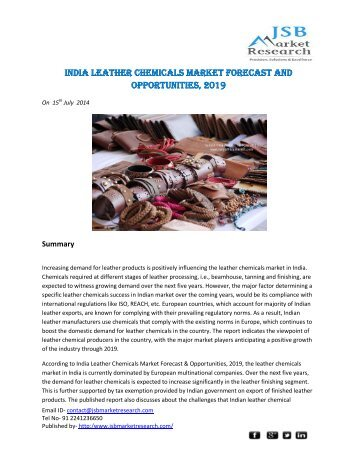 JSB Market Research - India Leather Chemicals Market Forecast and Opportunities, 2019