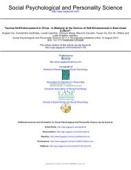 Social Psychological and Personality Science - University of ...