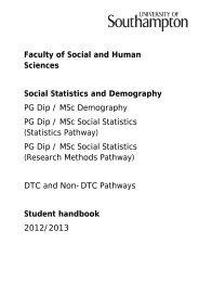 Social Statistics & Demography Postgraduate Taught programmes