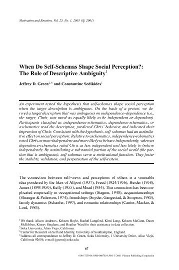 When Do Self-Schemas Shape Social Perception? - University of ...