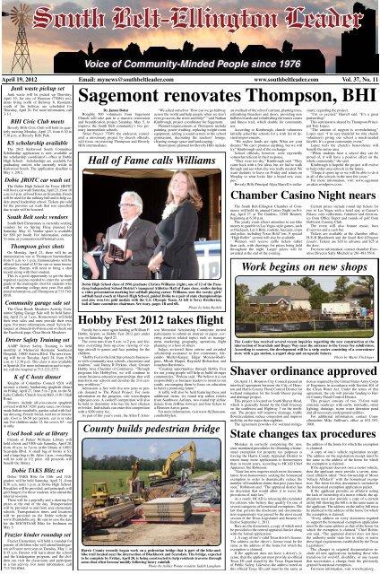 Sagemont Renovates Thompson BHI South Belt Ellington Leader