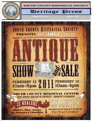 January - February - South County Historical Society