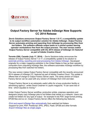 Output Factory Server for Adobe InDesign Now Supports CC 2014 Release
