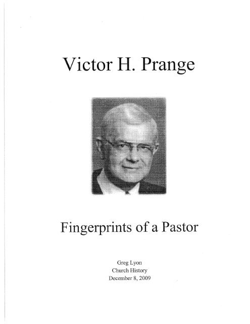 Victor H Prange Pdf  Wisconsin Lutheran Seminary Library Essays  Essay On My School In English also Essays On Science And Religion  Research Essay Thesis