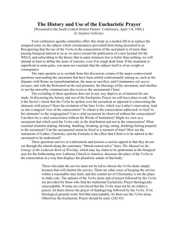 The History and Use of the Eucharistic Prayer - Wisconsin Lutheran ...