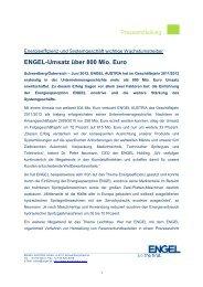 ENGEL-Umsatz über 800 Mio. Euro - Engel Austria