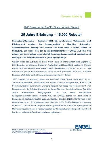 25 Jahre Erfahrung –  15.000 Roboter - Engel Austria