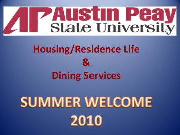 Housing/Residence Life Dining Services - Austin Peay State University