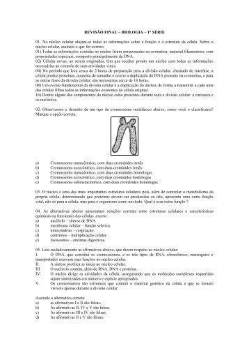REVISÃO FINAL – BIOLOGIA – 1° SÉRIE 01. No núcleo celular ...