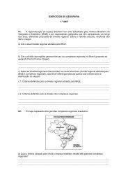 EXERCÍCIOS DE GEOGRAFIA 1.° ANO 01. A regionalização do ...
