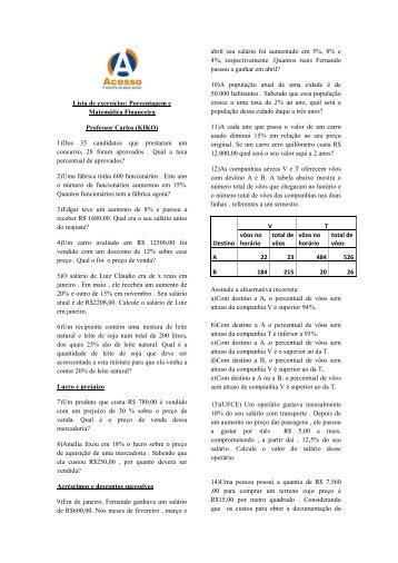 Lista de exercícios: Porcentagem e Matemática Financeira ...