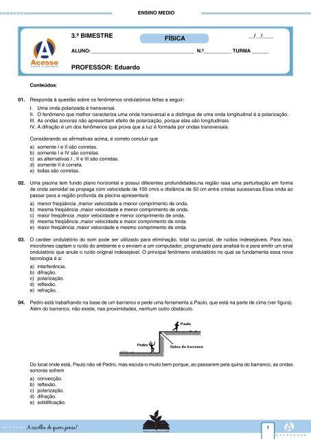 PROFESSOR  Eduardo 3.º BIMESTRE FÍSICA - Curso e Colégio ... 7f3695562c