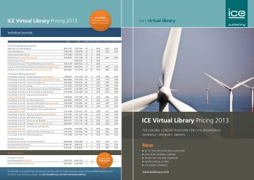 Download ICE Publishing Pricing 2013 - ICE Virtual Library