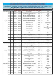 GENERIC EXAMINATION TIMETABLE SUMMER 2013
