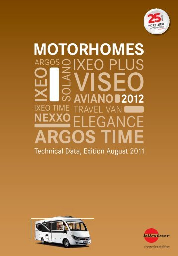 2012 Burstner motorhome Technical Specifications - Southdowns ...