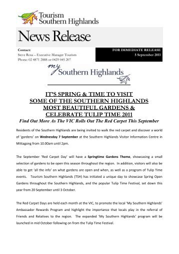News Release - Southern Highlands