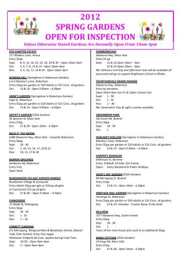 Open For Inspection Sheet Spring 2012 - Southern Highlands